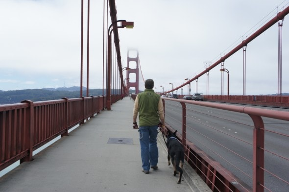 Rod and Buster on Golden Gate Bridge