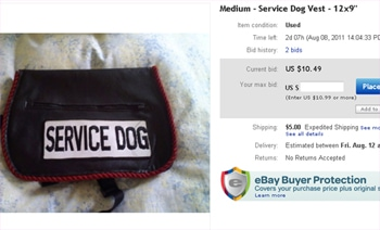 eBay Service Dog Vest Listing Draws Fire