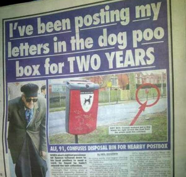 Tabloid Fun: Man Posts Letters In Dog Waste Disposal Bin for Two Years