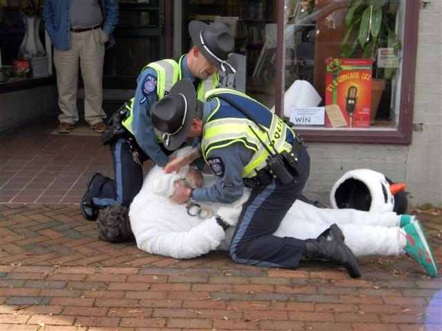 Frosty the Snowman Arrested for Kicking Police K-9