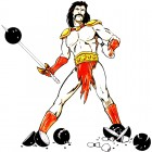 cartoon warrior slaying bowling balls