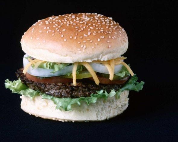 hamburger with onions lettuce shredded cheese on sesame bun