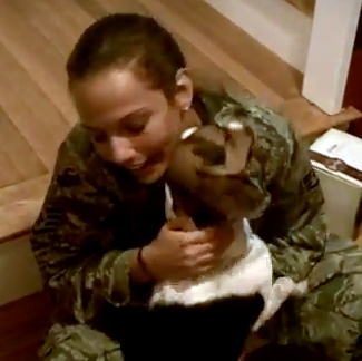 Surprised Dog Cries With Delight When Military Mom Comes Home