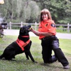 Soot and his owner, Lorrie Burdette.