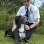 Dog warden, Keiron Berry, with Annie