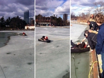 Officer Risks Life To Save Puppy From  A Freezing Pond