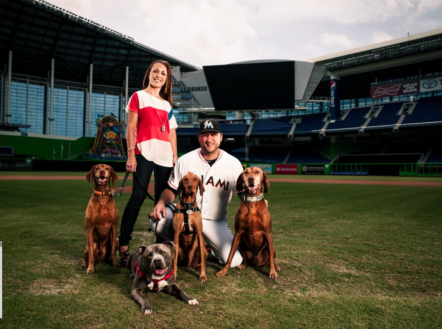 Pit Bull Rescued from Death Row Now at Home With Professional Pitcher's Family