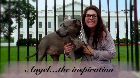 Rebecca Corry with her rescue, Angel.