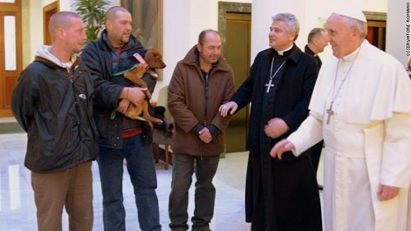 12.19.13 - Pope's Birthday with Homeless Men and Dog