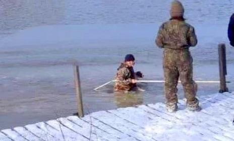 Good Samaritan Wades into Icy Water to Save Dog