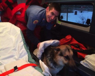 RI Firefighters Rescue Dog from Frigid Waters