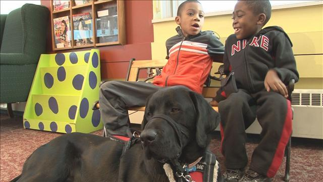 Black Lab that Failed Guide Dog Exam Helping Two Special Boys