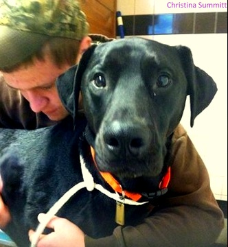 Christina's 16-year-old stepson with Tucker just before surgery.