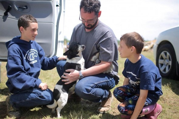 The Lentz family and their miracle dog Oreo. The canine survived a deadly tornado.