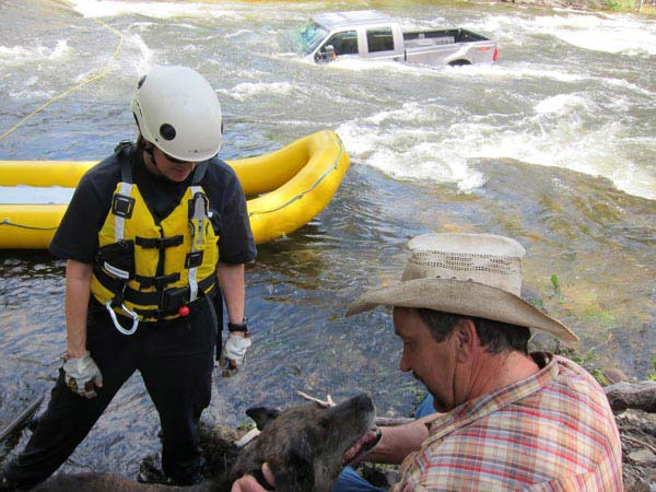 Dog Rescued from Adrift Truck in Chewuch River