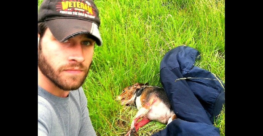 Army Vet Risks Life to Save Beagle Hit by Car & Left to Die