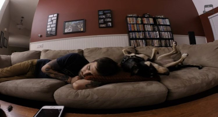 Cute Time Lapse! Dog and Owner Sleeping on Sofa