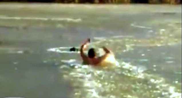 Russian Man Punches His Way Through Ice to Save Drowning Dog