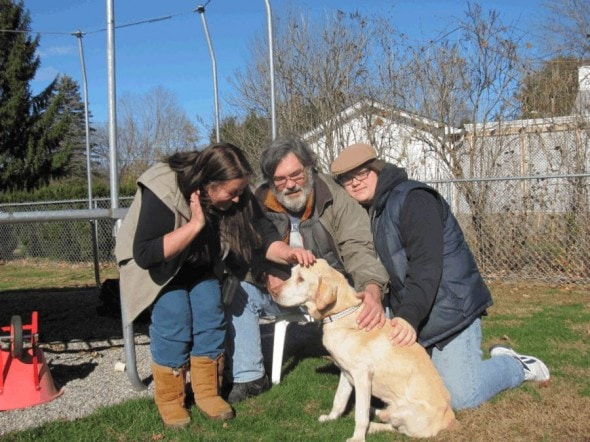 Hunter back with his family. Photo Credit: Lost Dogs of CNY - Facebook
