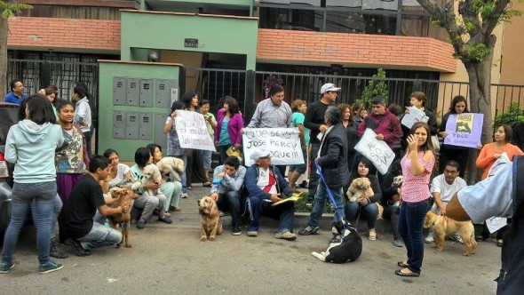 Neighbors protesting the dog's abuse. Photo Credit: Justicia para Paco/Facebook