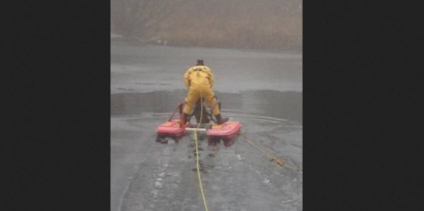 Firefighters Use Ice Sled to Rescue Dog