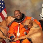 Leland Melvin and his rescue dogs.