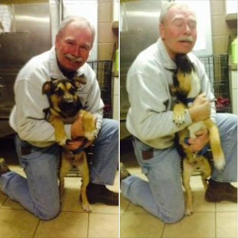 Gary West visiting Miles. Photo Credit: Muncie Animal Shelter.