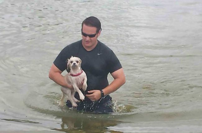 Officer Jumps into Water to Save Drowning Dog