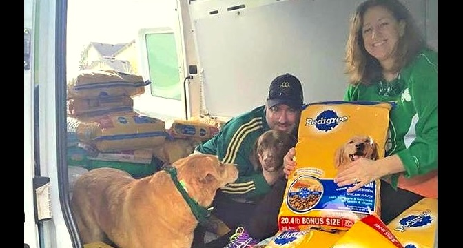 Family Collects Over 2,000 Pounds of Pet Food for Paddy's Day