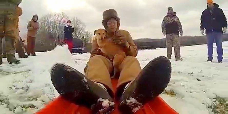 WWII Vet & Dog Go on Sledding Adventure
