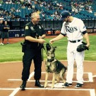Ajax, Officer oseph Lehmann and Steven Souza Jr. Photo credit: Tampa Bay Rays/Facebook