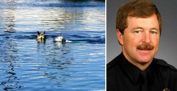 Police Officer Single-Handedly Saves Two Drowning Dogs