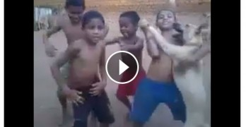 Kids Dance with Dog