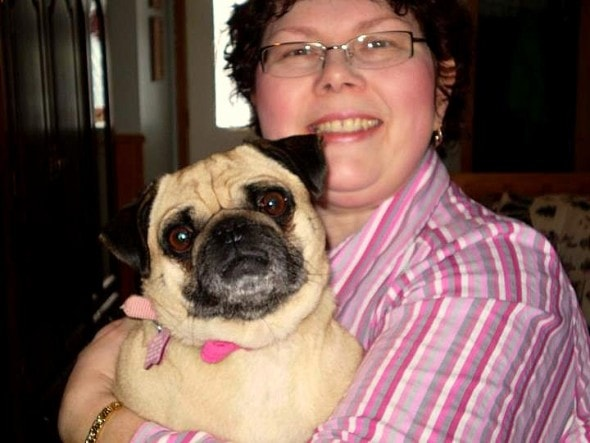Rev. Cindy with one of her own dogs
