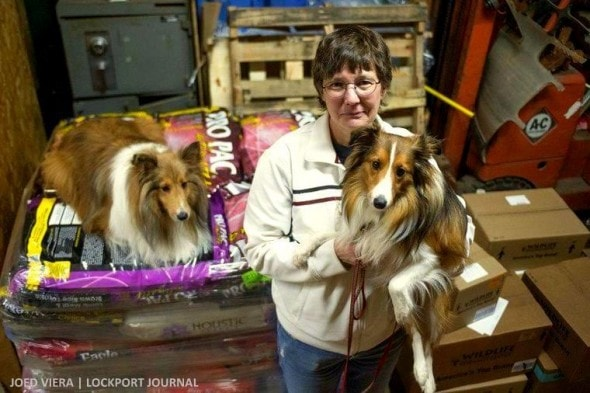 Charlotte Craig, with her Shelties Maggie and Tanner, is the coordinator of the pet food pantry program