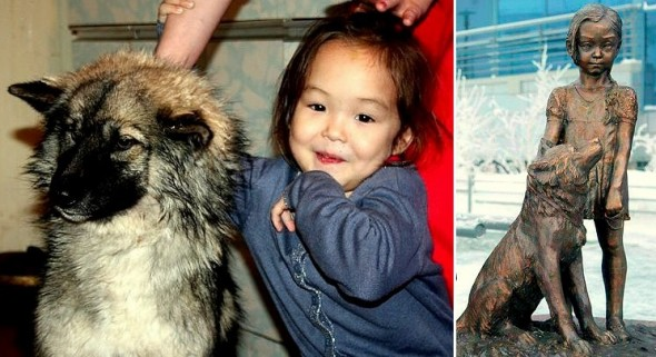 12.31.15 - Dog & Girl Who Survived Siberian Wilderness Honored with Statue1