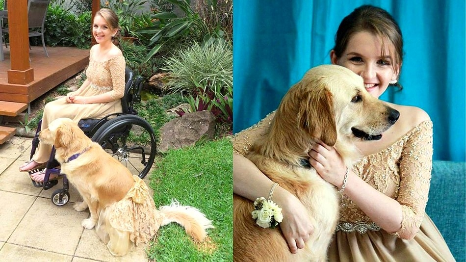 Teen Has Matching Prom Dress Made for Her Service Dog