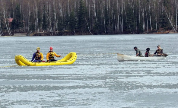 A Mat-Su Borough dive team towed the rescuers and dog to shore. Photo: Matt Tunseth/Frontiersman.com