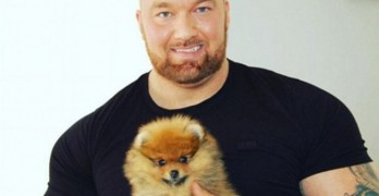 The Mountain and His Hound. Game of Thrones Actor Loves His Tiny Pom!