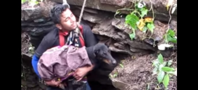 Dog Literally Cries Tears of Joy When She Sees Her Rescuers Coming