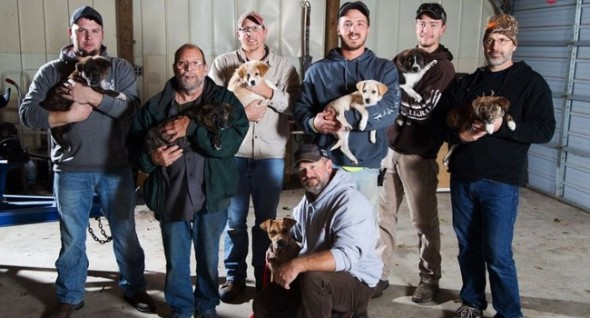 From left, Jake Rowe with Knox, Joe Gruber with Bear, Alex Manchester with Rosie, Doug Craddock with Annie, Mitchel Craddock with Brimmie, Brent Witters holding Finn and Dexter Jennings holding Gunner. (Photo: Bryan Bennett/Kalamazoo Gazette-MLive Media Group via AP)