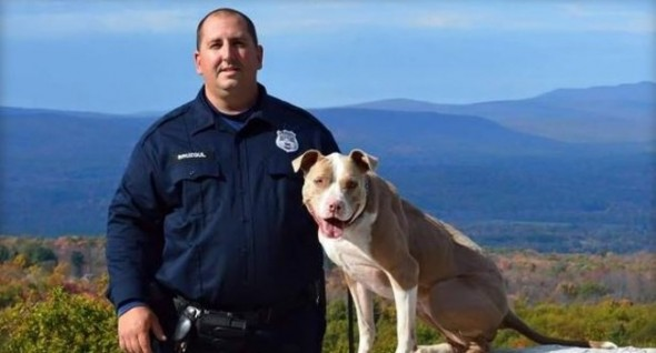 Poughkeepsie Police Officer Justin Bruzgul poses with K9 partner Kiah.  Photo: City of Poughkeepsie/Facebook