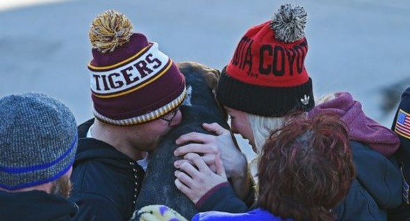 Molly reunites with the Fodness family. Photo: Joe Ahlquist/Argus Leader