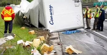 Truck Overturns and Spills 45,000 Pounds of Dog Food on the Highway