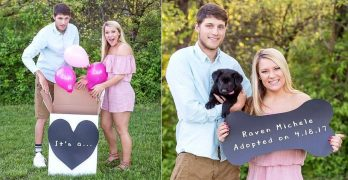 Couple Does the Sweetest Photoshoot to Announce the Arrival of The Puppy They Adopted