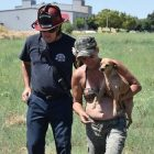 One Engine, Two Fire Trucks, One Battalion Chief … All For One Tiny Dog