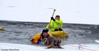 Illinois Firefighters Rescue Man & Dog From Icy Lake