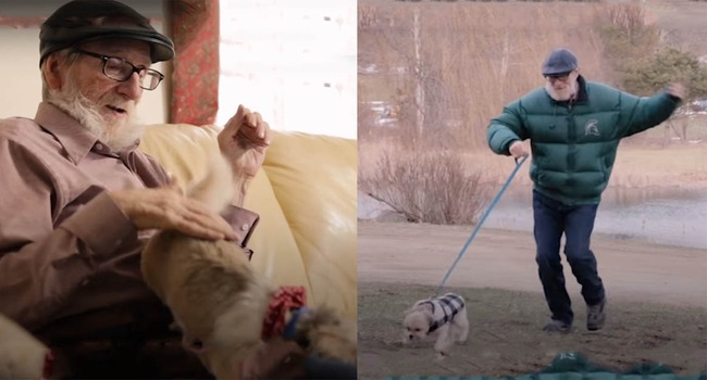 This man is coping with dementia and his little rescue dog, Louis, is helping. A lot.
