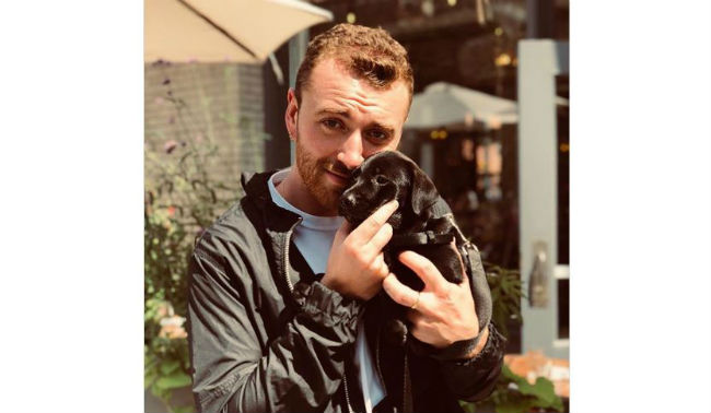 British crooner Sam Smith cuddles stranger's dog in Denver